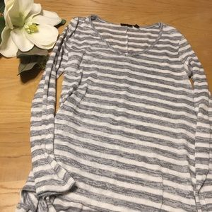 Ana Grey White Stripe Knit Cascading Top S